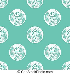 White Ice Cream Pattern on Turquoise Background