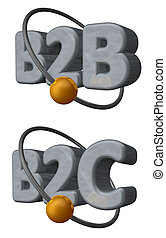 b2b b2c - golden ball fly around the letters b2b and b2c -...