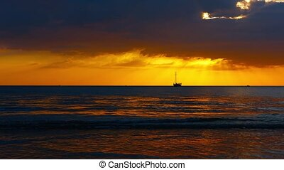 Bold Orange Sunset over a Tropical Seascape - Video 1080p -...