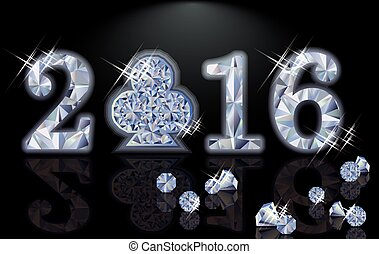 Happy 2016 New year diamond poker club, vector illustration