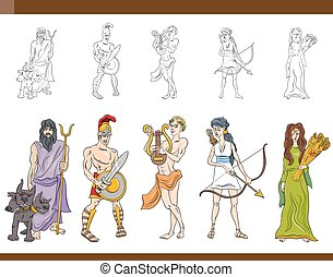 greek gods set illustration - Cartoon Illustration of...