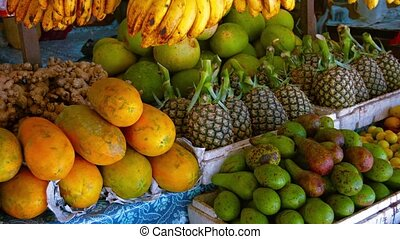 Fresh Produce at an Outdoor Public Market - Assorted fresh...