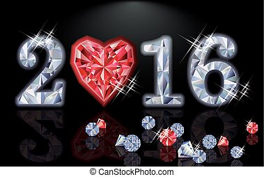 Happy 2016 New year ruby poker heart, vector illustration