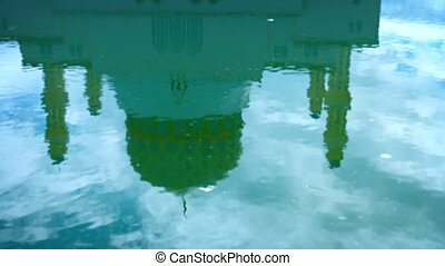 Reflection of Kota Kinabalu City Mosque in the Water -...