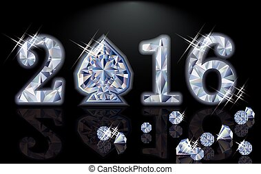Happy 2016 New year diamond poker spade vector illustration