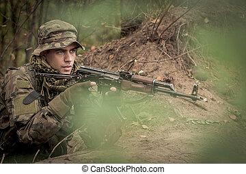 Sniper with automatic weapon