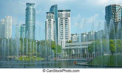 Kuala Lumpur Skyline from a City Park - Kuala Lumpurs...