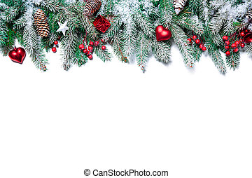Christmas decoration - Christmas Border. Tree branches with...