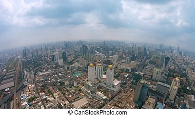 Fisheye Shot of a Sprawling Metropolitan City from High...