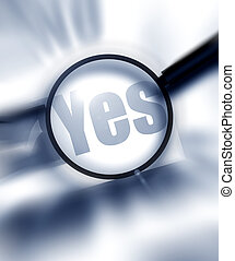 YES - Paper sheet with YES word