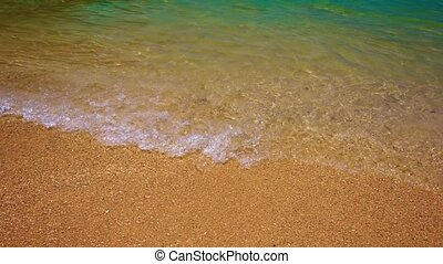Gentle Ocean Waves Washing over a Tropical Beach - Gentle...