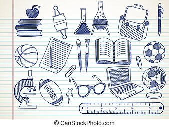 school supplies doodles set hand drawn , vector illustration