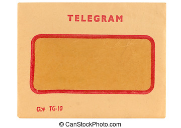 Old telegram envelope isolated on white