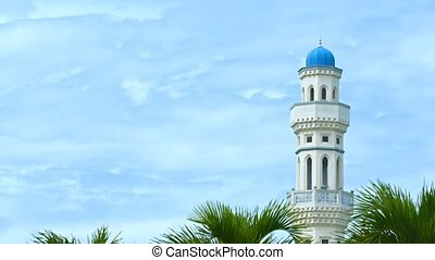Single Minaret of a Mosque against a Cloudy Sky - video...