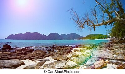 Beautiful, Rocky, Tropical Beach in Thailand - video...
