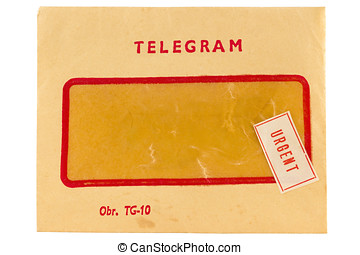 Old telegram envelope with urgent mark isolated on white