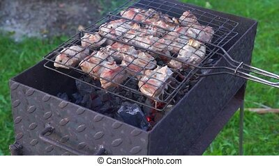 Frying barbeque - Meat pieces on skewer are frying on coal...