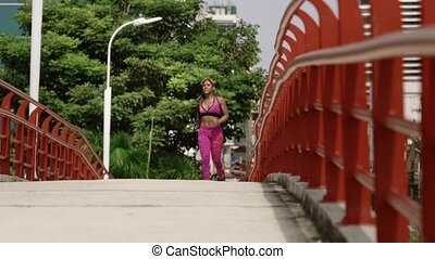14 Woman Running And Working Out At Morning In The City -...