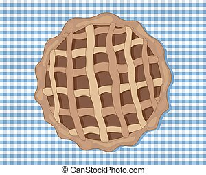chocolate tart - a vector illustration in eps 8 format of a...
