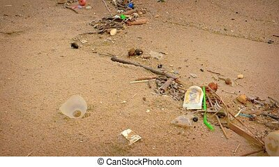 Polluted and Litter Strewn Tropical Beach - video 1920x1080...