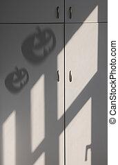 sombra, de, Halloween, calabaza,