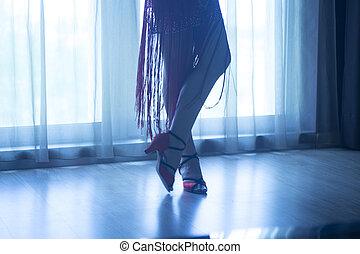 chaussures, pieds, jambes, femme, Salle bal, danse, prof,...