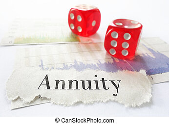 Annuity headline - Annuity newspaper headline on stock...