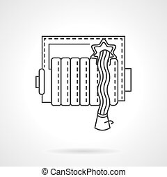 Fire hose reel thin line vector icon - Fire department...