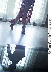 chaussures, Salle bal, danse, pieds, danseur, femme, jambes,...