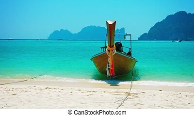 Wooden Tour Boat, Bobbing in the Surf on a Tropical Beach -...