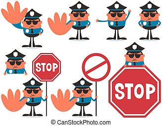 Police Officer - Police officer in 8 different poses.