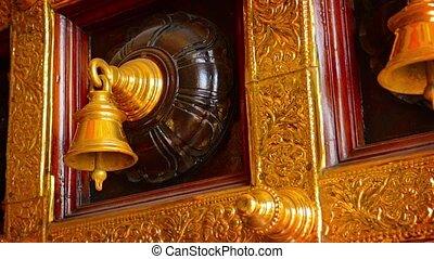 Beautiful, Decorative, Ceremonial Bells in a Hindu Temple -...