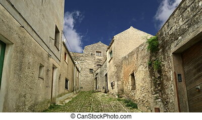 Ancient streets in old italian style Erice, Sicily,Italy