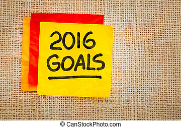 2016 New Year goals on sticky note