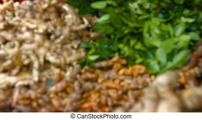 Ginger, Turmeric and Kafir Lime Leaves at Market in Shifting...