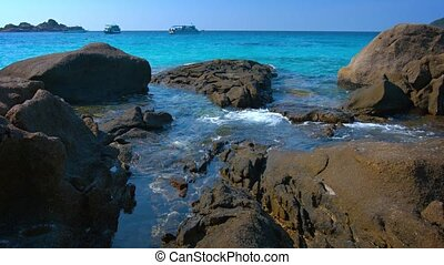 Tidepools in the Rocks on a Tropical Sea - Video 1080p -...