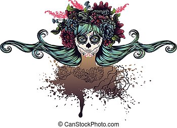 Sugar Skull Girl in Flower Crown - Day of the Dead...
