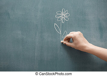 Presenting flower - Human hand holding single flower drawn...
