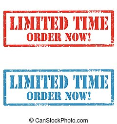 Limited Time - Set of grunge rubber stamp with text Limited...