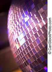 Disco ball in Ibiza house music party nightclub