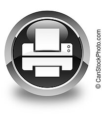 Printer icon glossy black round button