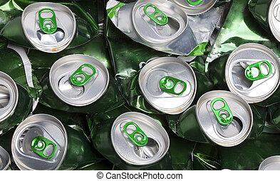 a, Amarrotado, Cerveja, latas,