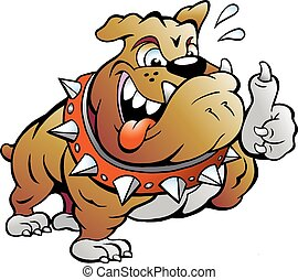 Muscular Bull Dog giving Thumb Up - Vector Cartoon...
