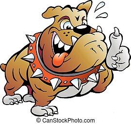 Muscular Bull Dog giving Thumb Up - Vector Cartoon...