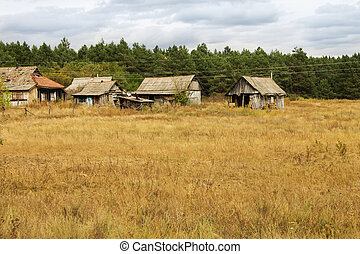 little old dilapidated building in a field on a background of pi