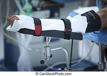 Traumatology orthopedic surgery hospital immobilized arm -...
