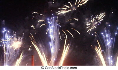 Colorful fireworks at holiday night - Great Colorful...