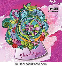 Thank You, hand lettering and doodles elements background. Vector illustration