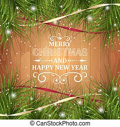 Merry Christmas and Happy New Year greeting card on wooden...