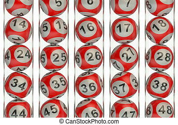 Set of red lottery balls concept - Set of red lottery balls,...